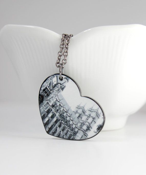 Black and White Castle Photo Reversible Chain Pendant - Trendy Heart Necklace - London, England - Valentine's Day by belleonabudget  #valentinesday #castle #london #heart #pendant #necklace #blackandwhite #bandw