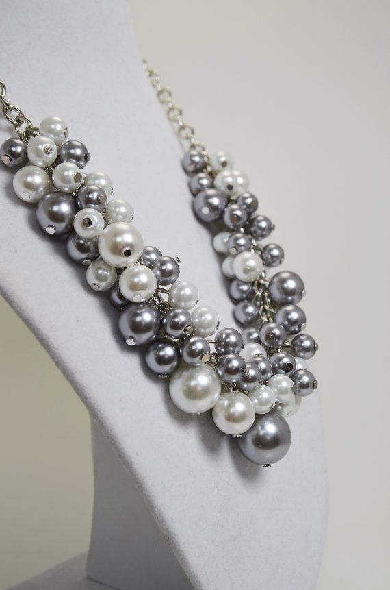 White and Gray Pearl Cluster NecklaceWhite Pearl by Eienblue