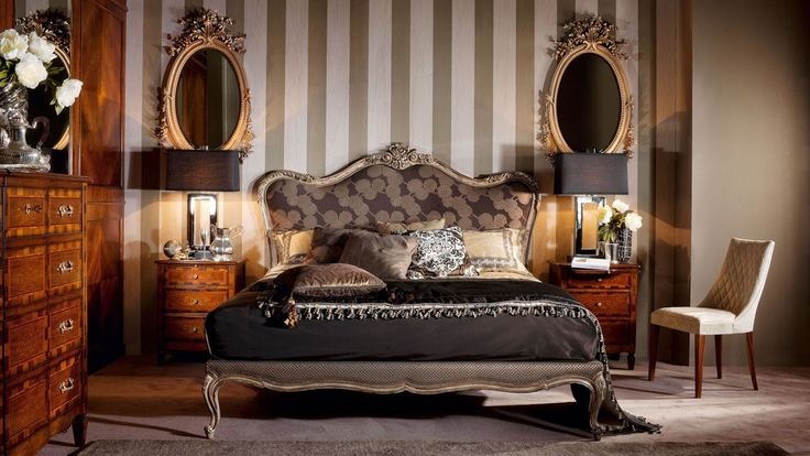 Bed with high headboard Ottocento, Medea - Luxury furniture