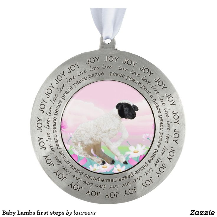 Baby Lambs first steps Round Pewter Christmas Ornament