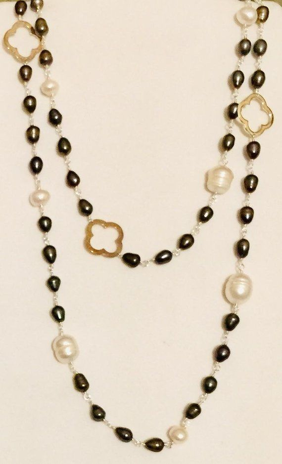 8 Pearl Color Options Long Elegant Swarovski Pearl Necklace Statement Necklace Brenda Elaine Jewelry