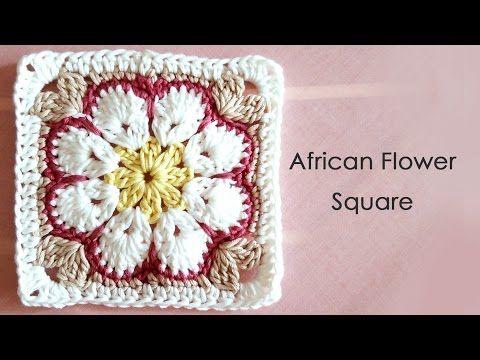 ▶ アフリカンフラワーモチーフの編み方(四角形) * African Flower Square Crochet Motif * - YouTube