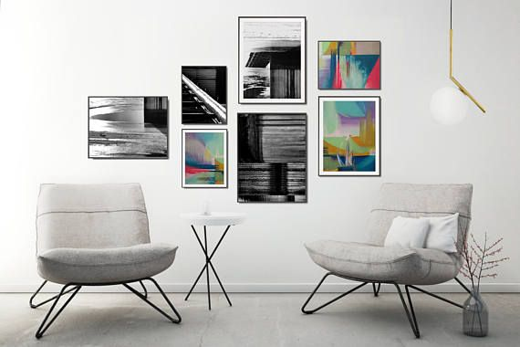 Love these gallery wall, so unique! . . . . Abstract poster set, a combination of acrylic paintings and black and white photography - make your interior unique with this handpicked collection! +++ #gallerywall #gallerywallideas #gallerywalldecor #printablewallart #printablewalldecor #kacixart