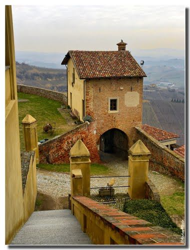 Climbing down from the castle in Cisterna d'Asti, Langhe wine zone in Piemonte, Italy