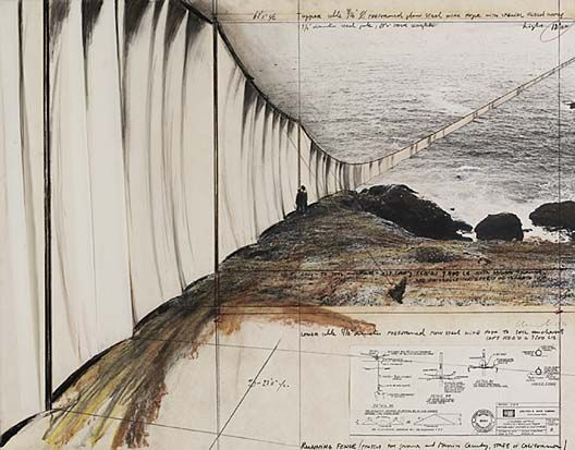 Christo and Jeanne-Claude, plans for 'Running Fence'