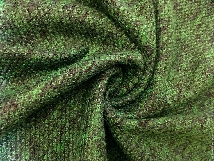 Купить Двойной фактурный трикотаж - зеленый, змеиный принт, букле, трикотаж букле, зеленый трикотаж