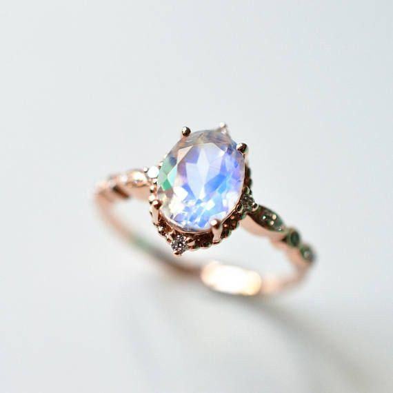 blue moonstone engagement ring available in solid 14k18k and platinum set with - Moonstone Wedding Ring