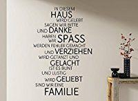 Grandora W991 Wandtattoo Familie Haus Lachen Liebe Spruch Wand Deko Aufkleber braun (BxH) 58 x 87 cm