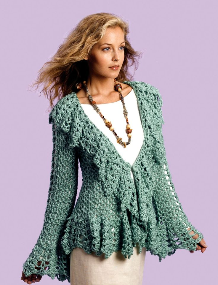 free crochet  pattern from   Yarnspirations.com - Caron Soft Sage Circle Jacket - Patterns  | Yarnspirations