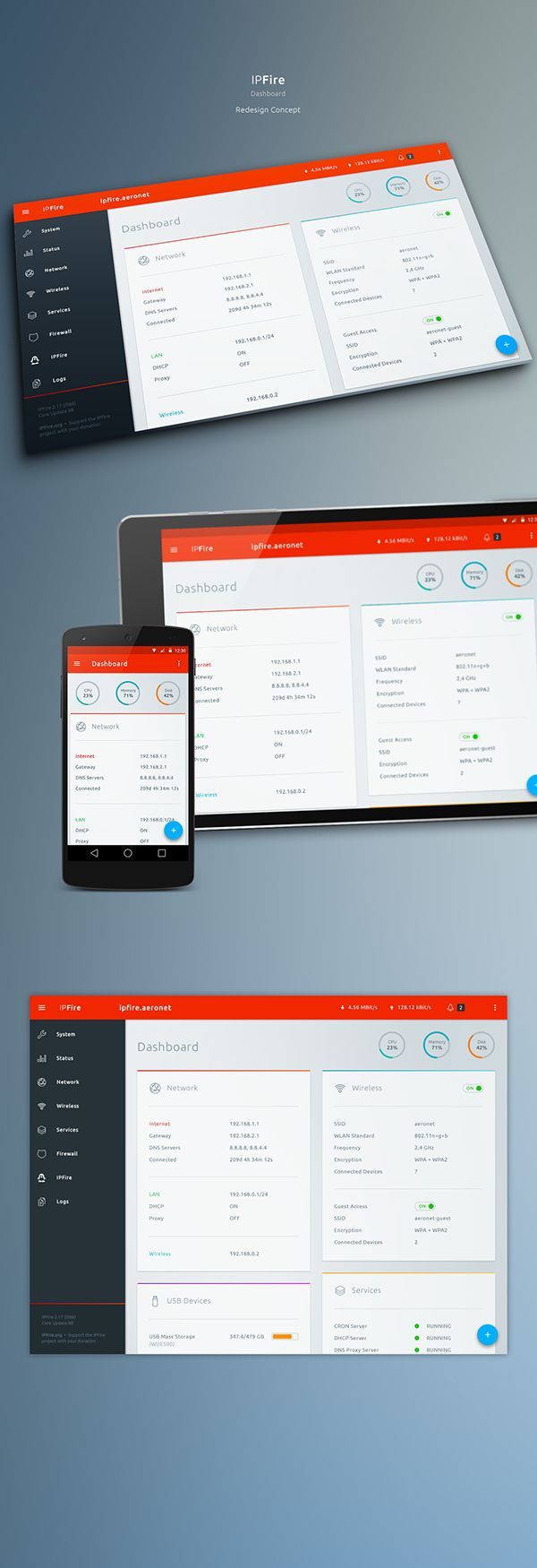 IPFire Concept Redesign I made for fun and practice. Based on Google's Material Design. IPFire is a great and powerful Open Source Firewall Distribution. Get it for free from here: http://www.ipfire.org/