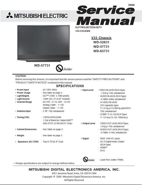 Mitsubishi WD-52631 , V33 chassis , DLP projection TV , Service Manual & Schematics  (no one DOWNLOAD