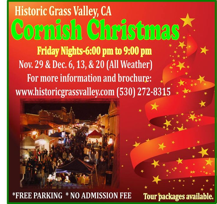 We are just weeks away from our annual Cornish Christmas! Recapture the spirit of Christmas past with vendors dressed in Cornish attire all set in the charming surroundings of historic downtown Grass Valley. Our shops, restaurants and tasting rooms are open late to help you find the perfect gift on your list, enjoy a variety of culinary delights or sip a glass of local wine at more than 5 downtown wine tasting rooms.