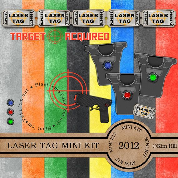 """Digital Scrapbook MINI Kit - """"Laser Tag"""" digiscrap kit with target, vest and laser tag gun in bright primary colors for scrapbook layouts"""