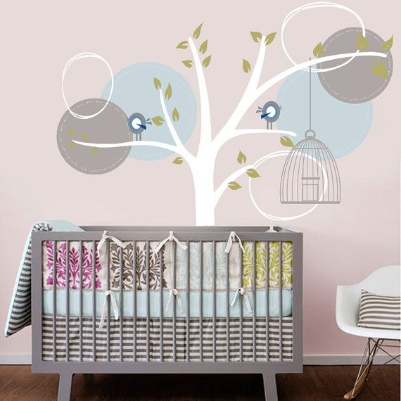 Vinyl Wall Decal Sticker Whimsical Tree with Modern birds nursery Vinyl Wall Decal