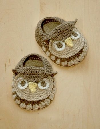 Owl Baby Booties #crochet #pattern by wendy.parlowbuol