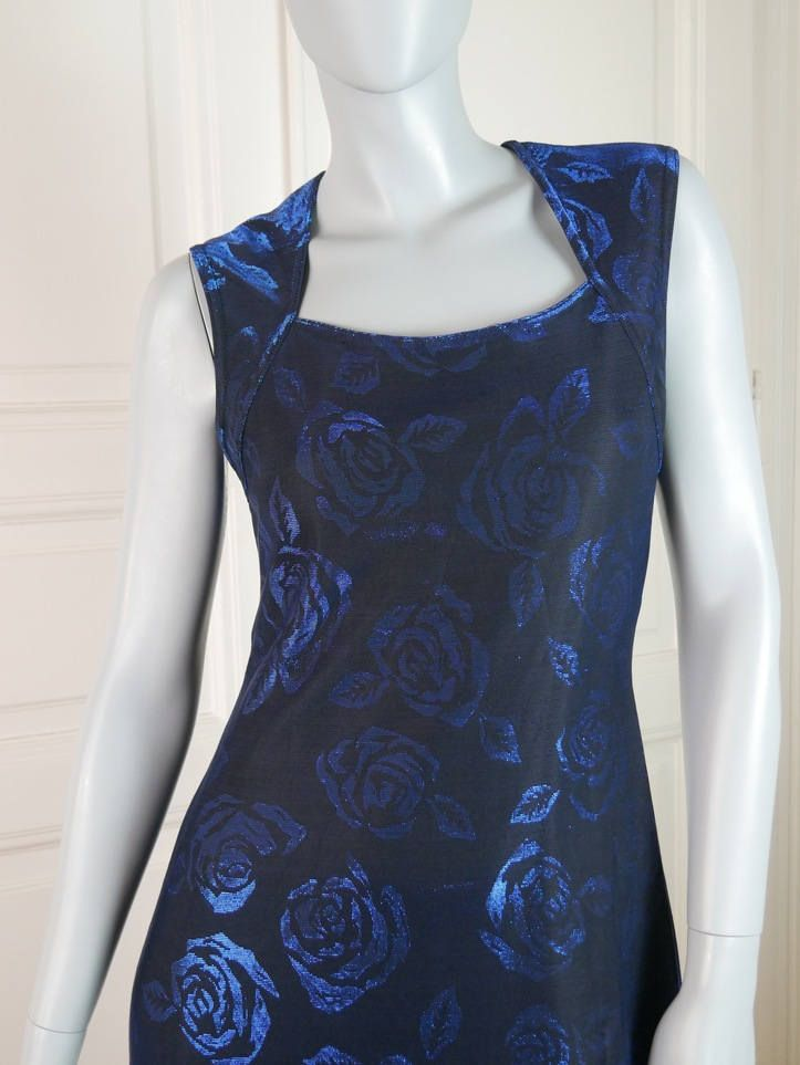 French Vintage Sleeveless Evening Dress, Black Royal Blue Rose Patterned Evening Gown, Two Available Excellent Condition: Sizes 4 & 8 US by YouLookAmazing on Etsy