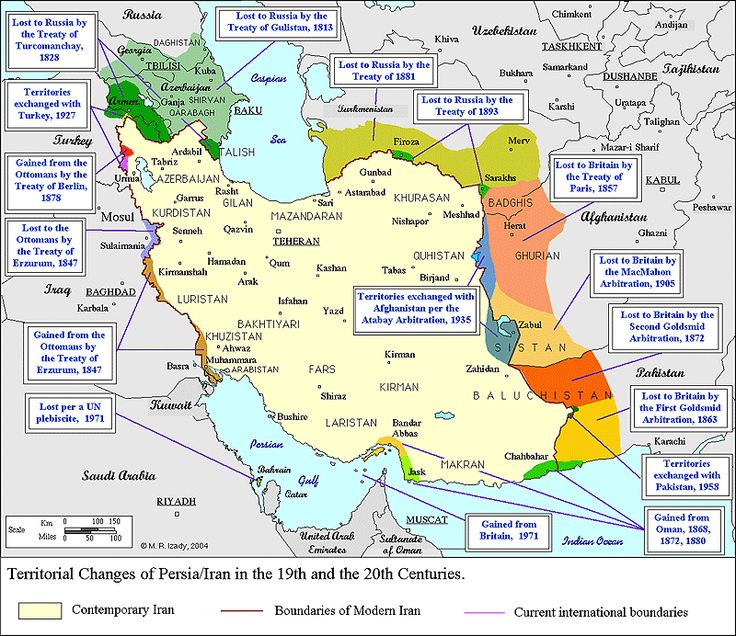Iranian territory changes, 19th and 20th centuries