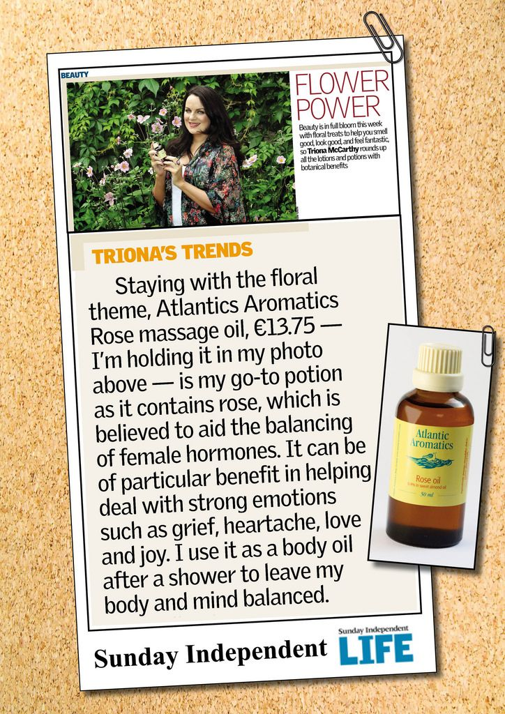 Atlantic Aromatics | Triona McCarthy likes the Rose Massage Oil. Available in health stores across Ireland