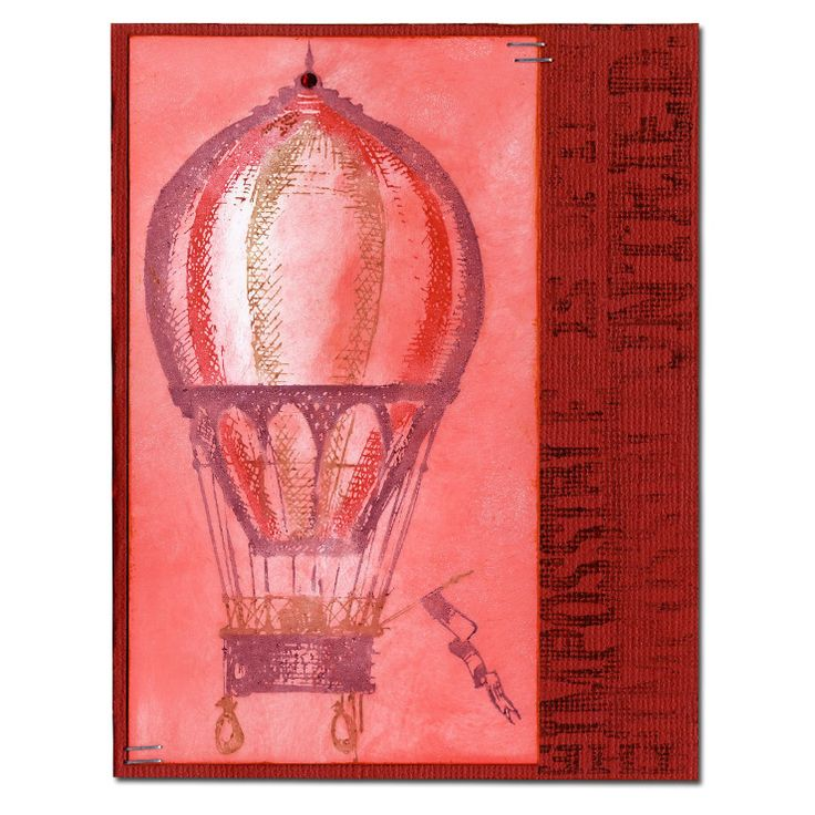 Hot Air Balloon Distress Markers Stamped Card: Stamps Cards, Scrapbook Ideas, Secret Cards, Balloons Distressed, Cards Ideas, Markers Stamps, Handmade Cards, Distressed Markers, Hot Air Balloons