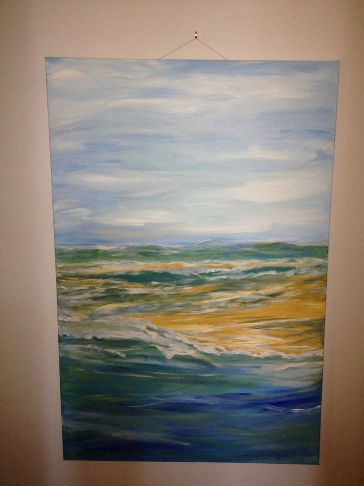 my painting of goolwa hindmarsh mouth, ie where the river hits the sea