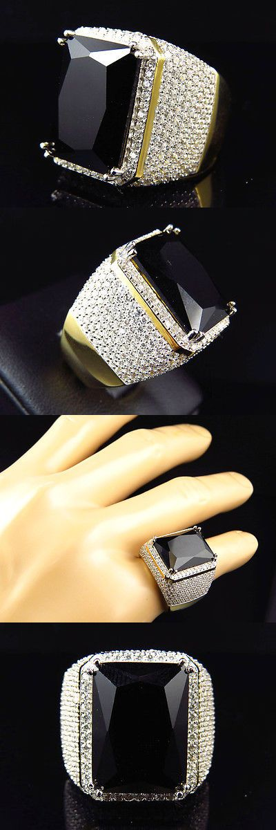 Other Fine Rings 177030: Mens Yellow Finish Black Onyx Lab Diamond Sterling Silver Royal Ring -> BUY IT NOW ONLY: $199.99 on eBay!