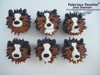 Sheltie Cupcakes!!.Shelters Cupcakes, Sweets Ideas, Cupcakes Sheltie, Sheltie Fans, Shetland Sheepdog, Sheltie Stuff, Animal Cake, Sheltie Cupcakes, Cupcakes Rosa-Choqu