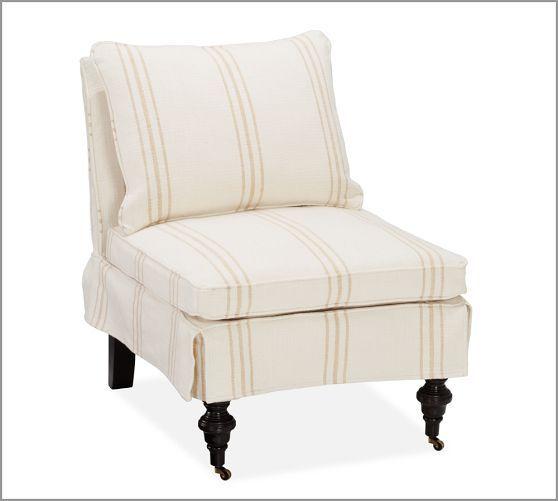 Kendall Slipcovered Slipper Chair, Down Blend, Pierre Stripe Straw Pottery  Barn