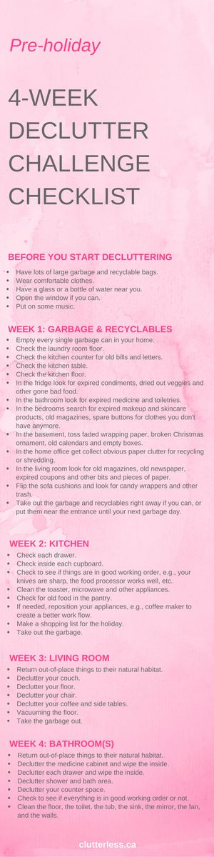 Pre-holiday 4-week declutter checklist More