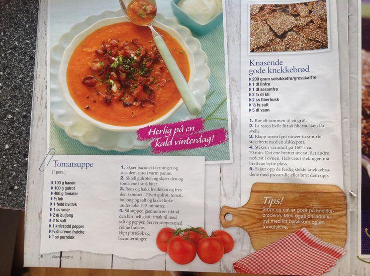 Lavkarbo tomatsuppe med bacon + gode knekkebrød
