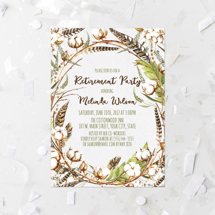 Cotton Flower Retirement Party Invitation Printable Autumn Cotton - retirement party flyer template