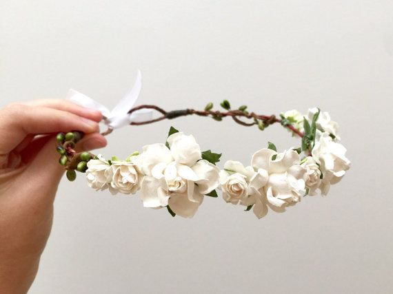 Delicate white rose flower crown headband/ wedding bridesmaid flower girl engagement bridal woodland floral wreath/ rustic hair accessories AU$40.50