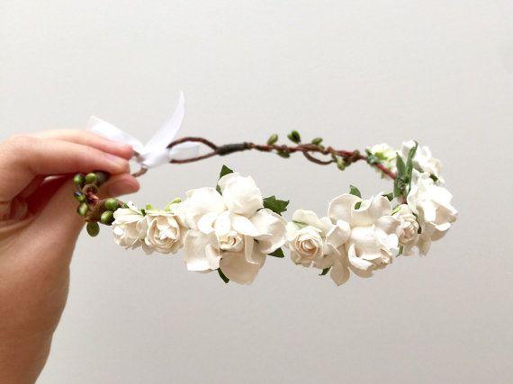 Delicate white rose flower crown headband/ wedding bridesmaid flower girl engagement bridal woodland floral wreath/ rustic hair accessories AU$40.50
