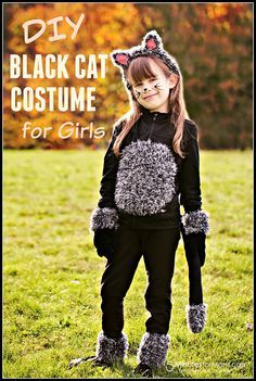 DIY Cat Costume Tutorial - Do you need a simple, but super cute, kids costume for Halloween? With items you probably already have in your home, you can make this easy DIY kids black cat costume in less than an hour.
