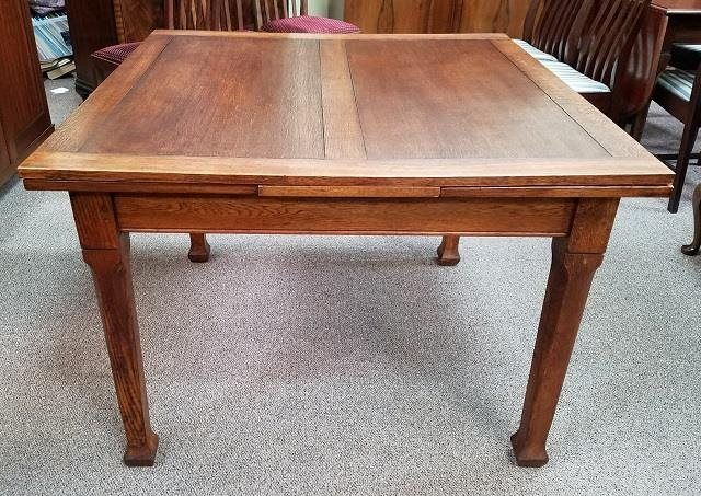 C 1920 S Oak Draw Leaf Dining Table 42 Square Antique Dining