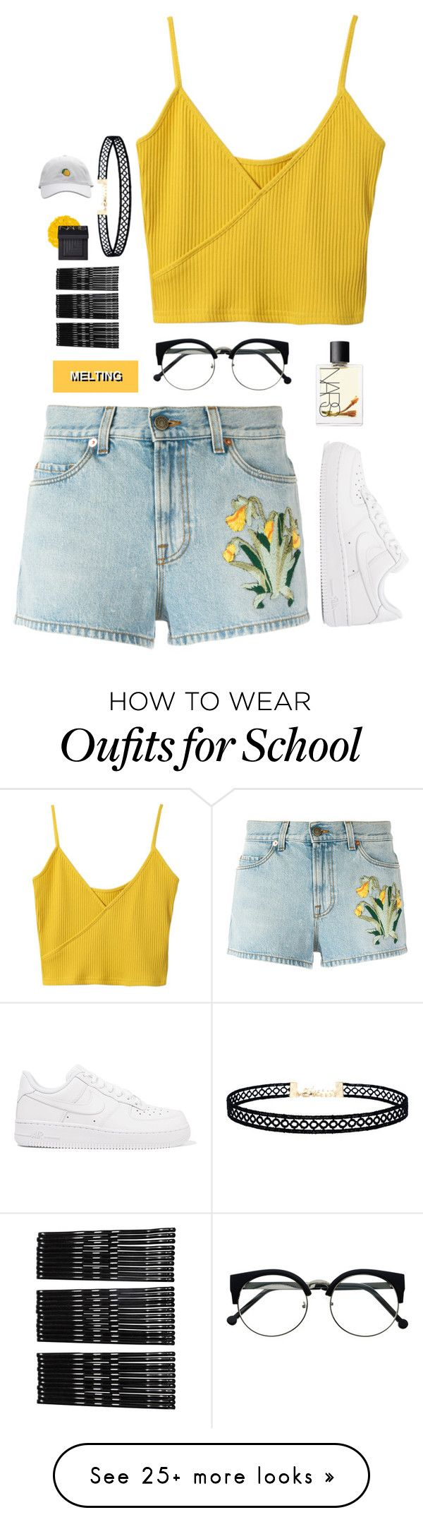 Blame school for my disappearance by draaayya on Polyvore featuring Gucci, NIKE, Illamasqua, LULUS, Monki and NARS Cosmetics