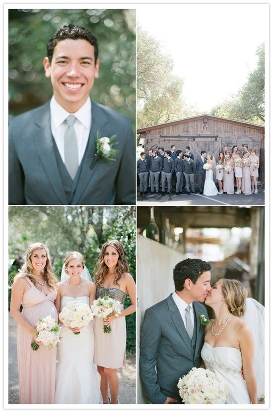 gray tuxes and pink dresses