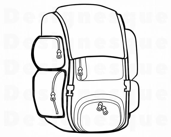 Backpack Outline 4 Svg Bookbag Svg School Knapsack Etsy Coloring Book Pages Coloring Pages Travel Drawing