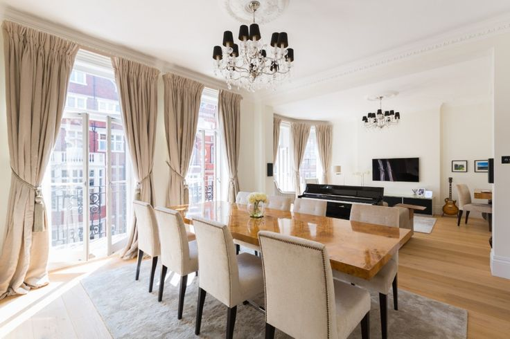Sloane Square Refurb - Granit Architects. Bright airy Dining space with classic features. Neutral palette.