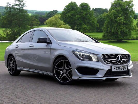 used 2015 15 reg polar silver metallic mercedes benz cla class cla 180 amg sport 4dr tip auto. Black Bedroom Furniture Sets. Home Design Ideas