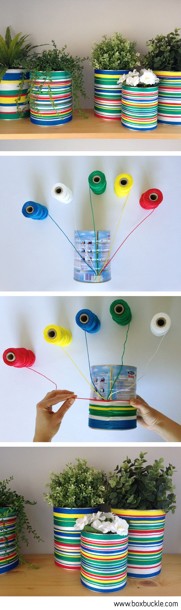 DIY TUTORIAL, bote de leche infantil forrado con cordeles de colores (idea de DAMA design) colored tin can planters with strings                                                                                                                                                                                 Más