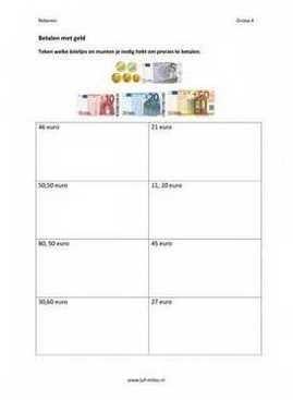 Dit werkblad en nog veel meer in de categorie geld kun je downloaden op de website van Juf Milou.