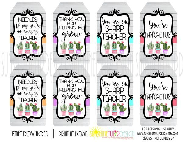 Printable Cactus Gift Tags Printable Teacher Appreciation Gift Tags Teacher Appreciation Gifts Printables Teacher Appreciation Printables Gift Tags Printable