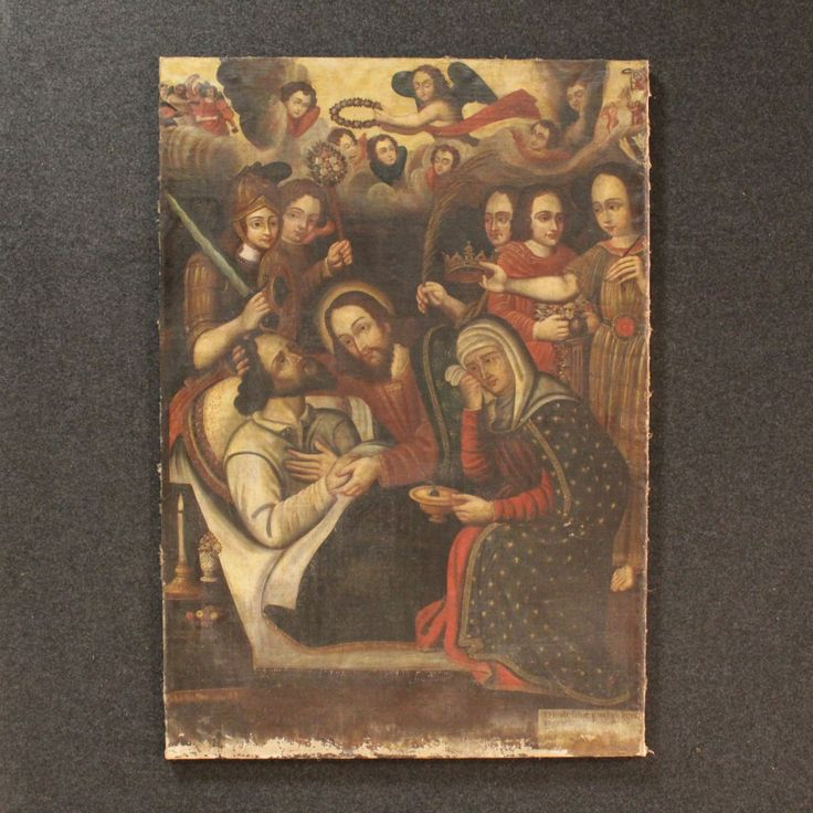 """Price: 4200€ Old French painting of the seventeenth century. Painting oil on canvas, in the first canvas, depicting a subject of sacred art """"Death of Saint Joseph"""". Unoriginal structure replaced during the twentieth century. It presents in the lower right corner a small text in Latin difficult to read due to loss of color in the lower part of the painting. Painting on the whole in good state of conservation. To be #antiques #antiquariato Visit our website www.parino.it"""
