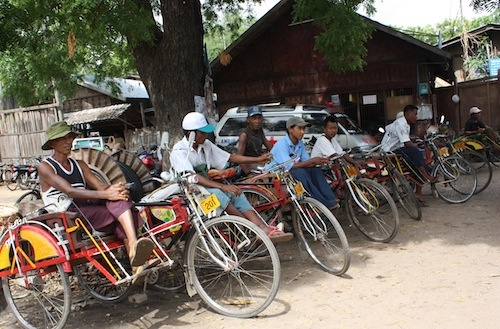Trishaw drivers at the local market in Nyaung U in Bagan Myanmar