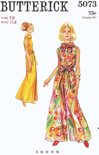 Butterick Pattern 5073 Vintage 60's Elegant Culottes - One Piece Party Entertaining Classic! Complete Size 12 Bust 34