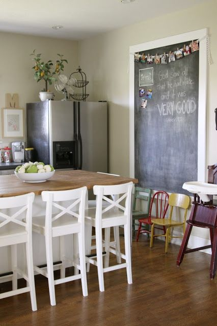 Large, framed chalkboard wall in kitchen. Tutorial: How to Make a Giant Magnetic Chalkboard