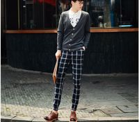 Outdoor Jogging Influx Of Men Necessary Boutique Street Shooting Spring 2015 Slim Plaid Casual Pants Tightness Free Shipping