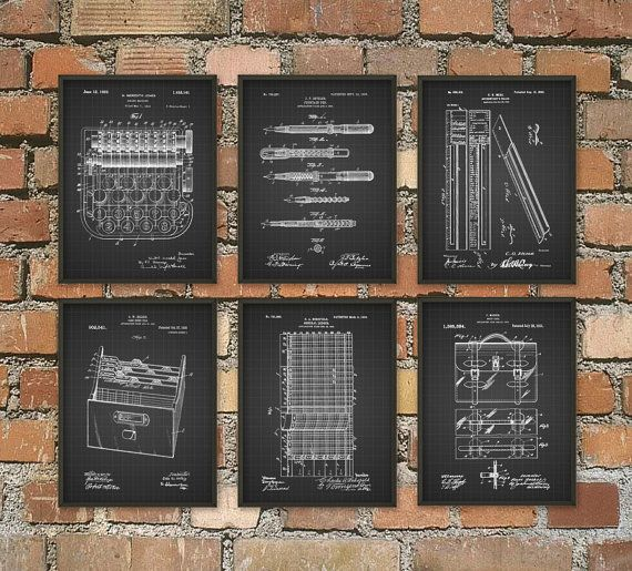 Accountant patent print set of 6 accountancy poster office wall art business management