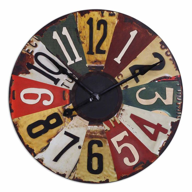 Rustic Bronze Vintage License Plates 29-inch Wall Clock | Overstock™ Shopping - Great Deals on Clocks