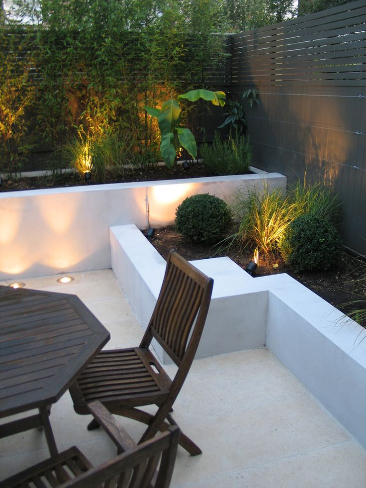 Chic Little Courtyard Small town garden with raised beds and tropical planting.